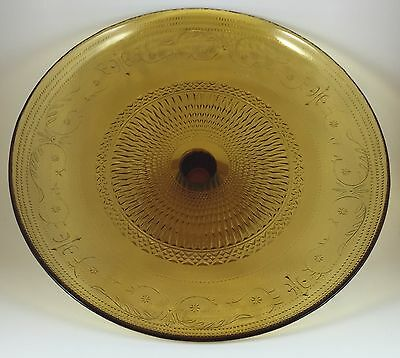 """Vintage Antique Yellow / Gold Glass Cake Stand, 12.5"""" Diameter, 4.5"""" height"""