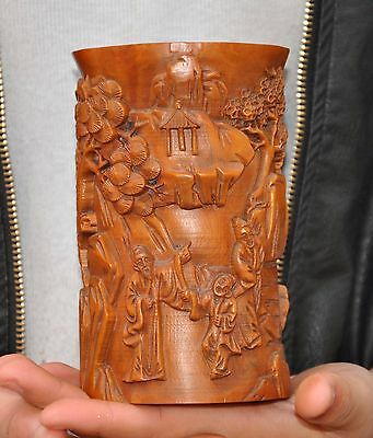 Old China Boxwood wood hand carved Pine old man child hill Brush Pot pencil vase
