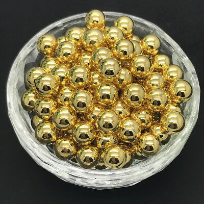 New 200 pcs 4mm  No Hole Round Pearl Loose Acrylic Beads Jewelry Making Gold