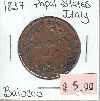 Italy Papal States Baiocco 1837 Circulated