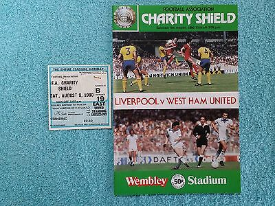 1980 - CHARITY SHIELD PROGRAMME + MATCH TICKET - LIVERPOOL v WEST HAM UTD