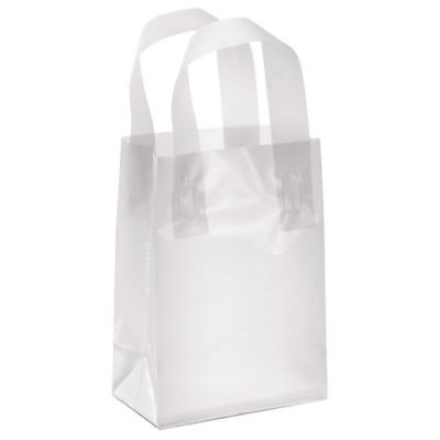 """Plastic Shopping Bags 100 Clear Frosty 5"""" x 3"""" x 7"""" Retail Merchandise Frosted"""