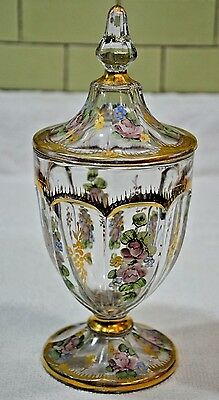 VICTORIAN HAND PAINTED ENAMELED Footed COMPOTE/ Jar  WITH GOLD GILT TRIM (026)
