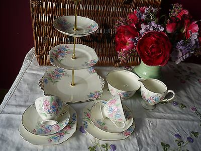 Vintage Art Deco Foley Tea set with 2 trio's and cake stand