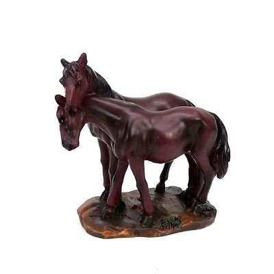 """Two Brown Horses Nuzzling Figurine Small Dark Brown Horse Statue 3"""" Tall"""