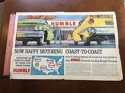 Vintage1960 Humble Oil and Refining 2 Page Color Magazine AD