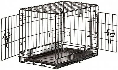 Foldable Double Door Folding Metal Dog Crate   22x13x16 Inches (LxWxH) WIth  Pan
