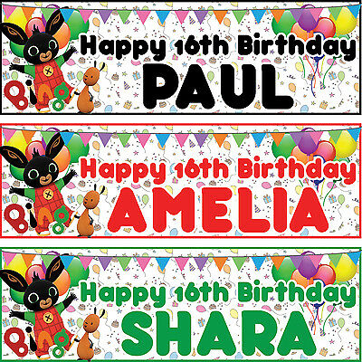 2 x personalized birthday banner party bing bunny boys girls any