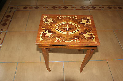 MARQUETRY INLAID WOOD MUSICAL TABLE - for Jewellery storage - Made in ITALY