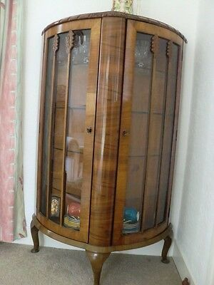 Vintage glazed  bow front china display cabinet unit with glass shelves