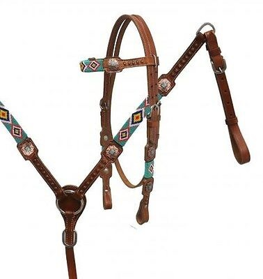 Showman Beaded Leather Bridle & Breast Collar Set w/ Antiqued Conchos! NEW TACK!