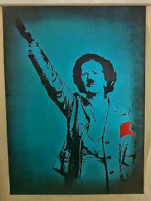 T.Wat, Margaret Thatcher  Original stencil spray painting signed on card.