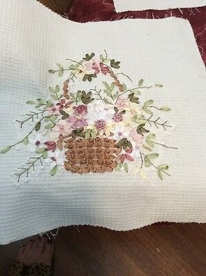 Hand Ribbon Embroidery Baskets~ 3 Quilt Squares~