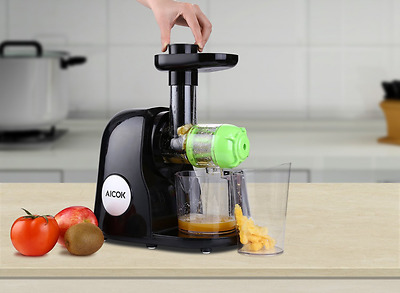 Aicok Slow Masticating Juicer Extractor with Juice Jug and Cleaning Brush, Black