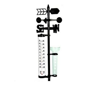 Outdoor Weather Station Garden Lab wind spinner, thermometer, rainfall vase New