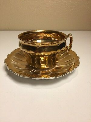 German Gold Tea Cup & Saucer, Antique 19th century. Rare find. Ships fast