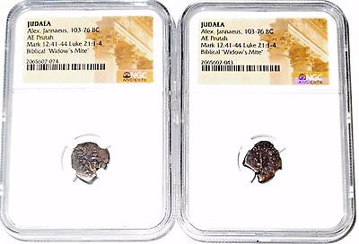 TWO (2) Widows Mite Judean Lepton Of Alex Janeaus Coins,NGC Certified 103-76 BC