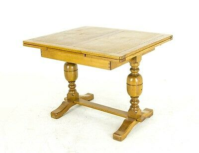B675 Antique Scottish Oak Refectory Table, Draw Leaf Table, Kitchen Table, Pub T