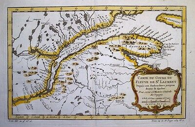1757  Bellin Map of St Lawrence River, Canada