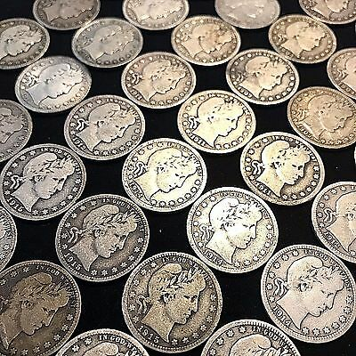 Barber Quarter Roll 40 Coins $10 Face Value Vg+ Great Mix High Grade   Q72