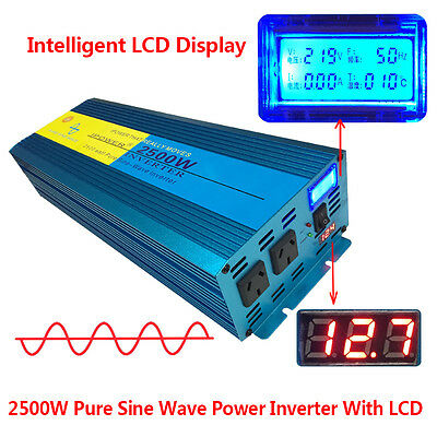 LCD Pure Sine Wave Inverter 2500W / 5000W 12V to 240V Power Boat Car Caravan NEW