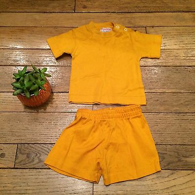 Vintage Tog-A-Longs Baby Two Piece Outfit T-Shirt Shorts Yellow 100% Cotton 6M