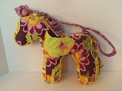 Girls Sassy Pet Saks Quilted Horse Purse Bag Purple Flowers & Stripes by Douglas