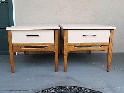 PAIR of Refinished Mid Century Modern Two-Tone Light Tan and Oak Nightstands