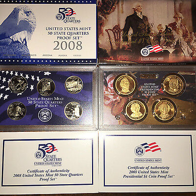 2008 S Presidential Dollar AND State Quarter Proof Sets 9 Coins W/Boxes And COA