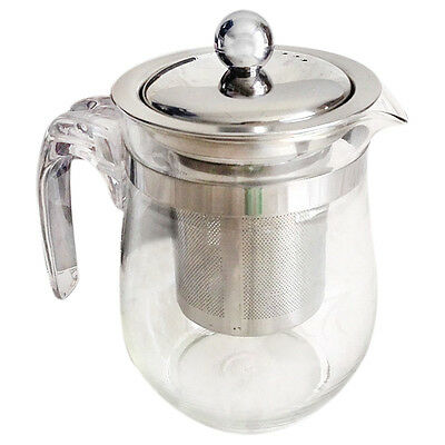 350mL Heat-resistant Clear Glass Teapot Stainless Steel Infuser O3U9