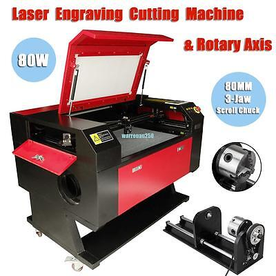80w USB Port CO2 Laser Engraver Cutter Cutting Engraving Machine w/ Rotary Axis