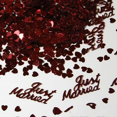 380pcs Red Gold Just Married Heart Shape Scatters Confetti Wedding Party