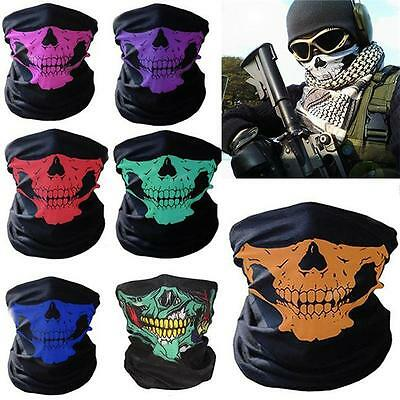 Skull Skeleton Motorcycle Biker Scarf Face Mask Snood Neck Bandana Ski Paintball