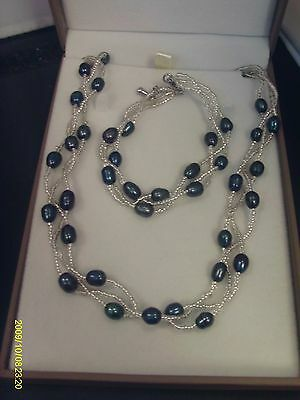 Silver-Plated Freshwater Pearl and Seed bead 3 strand Necklace and bracelet set