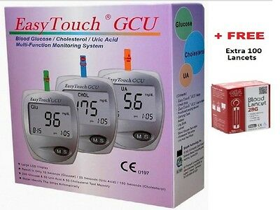 Easy Touch GCU Blood Glucose Cholesterol Uric Acid Test 3 in 1 Monitoring System