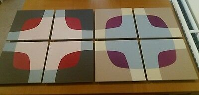8 Painted & Printed Square Wall Art Contemporary modern, retro vintage 60s 70s