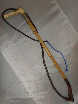 ANTIQUE BAMBOO HUNT WHIP w/ LASH -TRADITIONAL ANTLER TOP- HALLMARKED SILVER