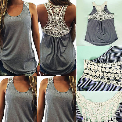 NEW UK Fashion Womens Lace Vest Sleeveless Casual Tan Top Blouse Tops T-Shirt