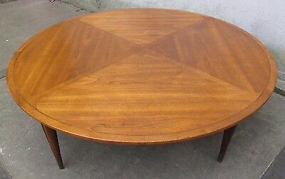 LARGE MID CENTURY MODERN ROUND WALNUT COFFEE TABLE by IMPERIAL mid century lane
