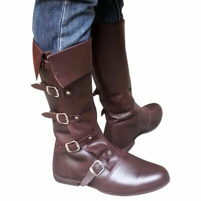 Medieval Leather Boots Brown Re-enactment Mens Shoe Larp Role Play Costume DFG1