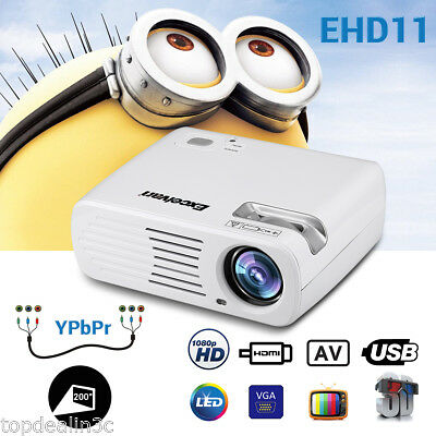 HD 1080P LED Video Projector 5000 Lumens 3D Home Theater Zoom AV/SD/USB/VGA/HDMI