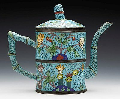 Antique Chinese Moulded Bamboo Shaped Cloisonne Lidded Teapot 19/20Th C.