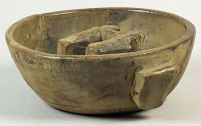 Antique Folkart Carved Birch Wood Bowl With Cows 18/19 C.
