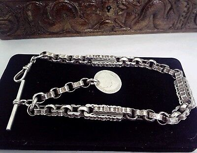 ANTIQUE SOLID SILVER   ALBERT CHAIN  &  SHILLING COIN FOB 1899 ,60g