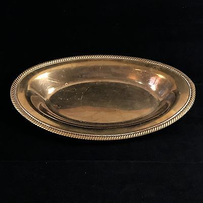 "Vintage Copper (silver plate worn off)  Oval Serving Tray Beaded Edge 7"" X 12"""