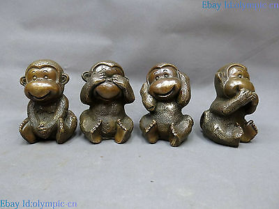 China brass sculpture carved fine copper lucky four monkey pair Statue