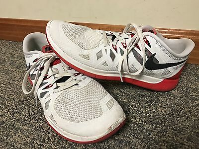 92a553a3bff29 Men s Nike Free 5.0 ~ 642198-106 White Red Running Shoes - Men s Size