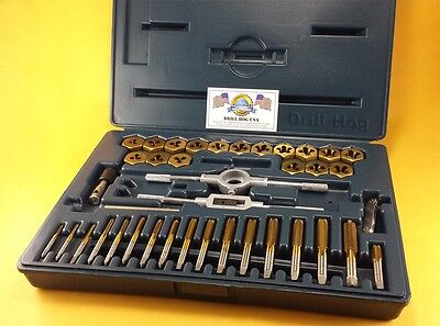 40 Pc Tap & Die Set Metric Tap Set MM Titanium Lifetime Warranty Drill Hog USA
