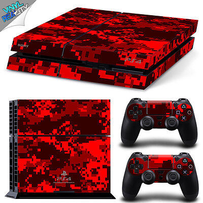 RED DIGITAL CAMO PS4 Playstation Decal Wrap Skin Sticker Cover ARMY camouflage
