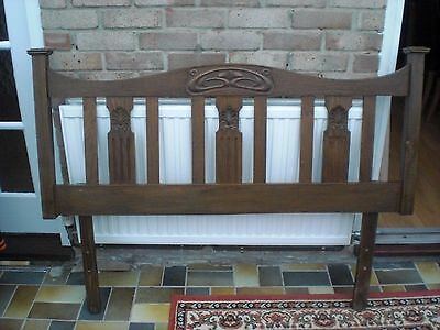Oak Double Bed Headboard - Antique - Art Nouveau Style